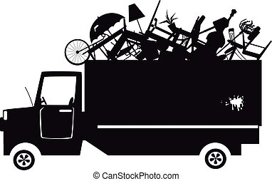 Garbage truck silhouette - Black vector silhouette of a...