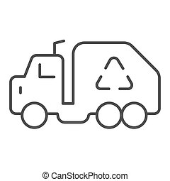 Garbage truck thin line icon. Trash car prohibited vector illustration isolated on white. Vehicle outline style design, designed for web and app. Eps 10.