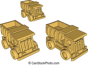 Garbage truck toy, illustration, vector on white background.