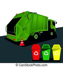 Garbage Truck - truck for assembling and transportation...