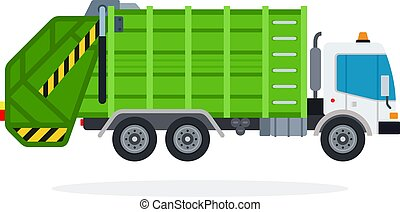 Garbage truck vector flat isolated