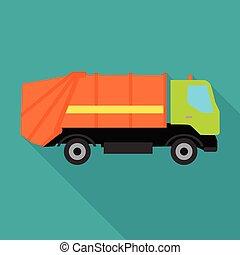 Garbage Truck Vector Illustration in Flat Design.