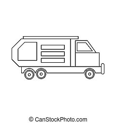 Garbage truck, waste collector icon, outline style