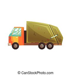 Garbage truck, waste recycling and utilization cartoon vector Illustration