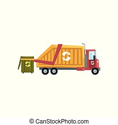 Garbage truck, waste recycling vector Illustration on a white background