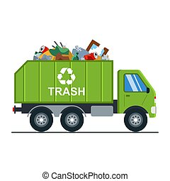 garbage truck with garbage goes to the landfill. waste recycling. vector dump truck isolated on white background.