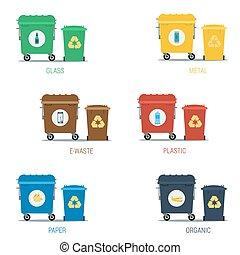 Garbage various types cans set