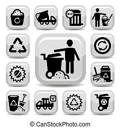 garbage vector icons - Vector Garbage And Cleaning Icons Set...