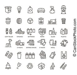 Different recycling garbage waste types sorting processing, treatment remaking trash utilize icons vector