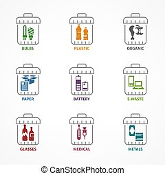 Garbage waste recycling color icons, line trash