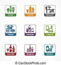 Garbage waste recycling square icons