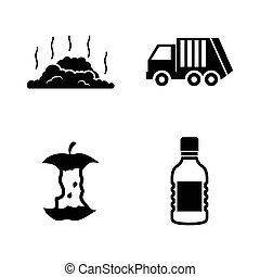 Garbage Waste. Simple Related Vector Icons