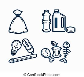 Garbage wastes trash line vector icons set of toxic,...