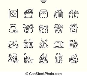 Garbage Well-crafted Pixel Perfect Vector Thin Line Icons 30...