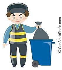 Garbageman dumping the trash illustration