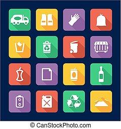 Garbageman Icons Flat Design