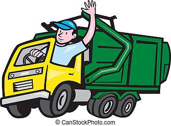 GarbageTruck Driver Waving Cartoon