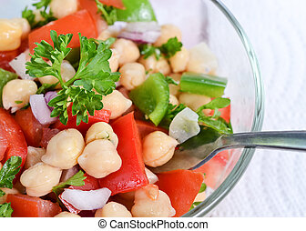 Garbanzo bean salad - Closeup on garbanzo bean salad