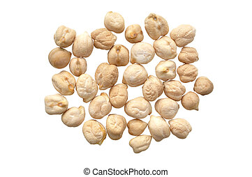 Garbanzo beans - Closeup of garbanzo beans isolated on white