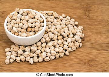 Garbanzo chickpeas in a small white dish