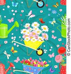 gard, seamless, 手ざわり, 花束, 優美である, 新鮮な花