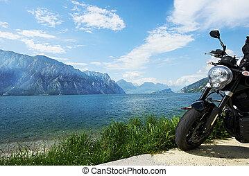 garda, lago, em, italy., bicicleta, costa