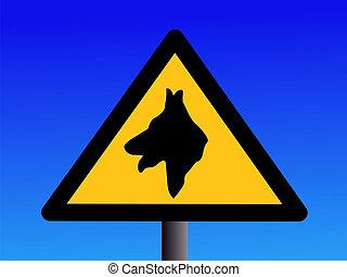garde, avertissement, chien, signe