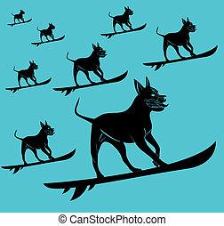 garde corps, art, chien, vecteur, taureau, fosse