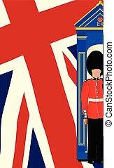 garde, cric, drapeau syndicats, royal, boîte