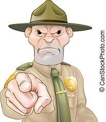garde forestier, dessin animé, pointage, forêt