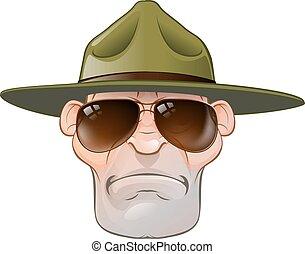 garde forestier, ou, sergent, foret, dessin animé