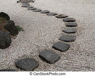 garde, piedra, japonés