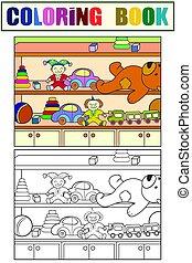 garde-robe, toys., coloration, enfants colorent, livre, ensemble, croquis, example.