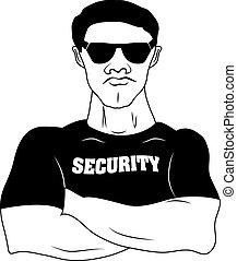 garde sécurité, homme