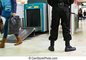 garde, sécurité, scanner, airoport, rayon x