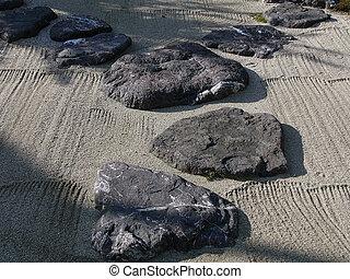 garde, stein, japanisches