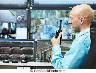 garde, vidéo, sécurité, surveillance
