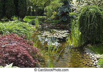 garden., été, paisible