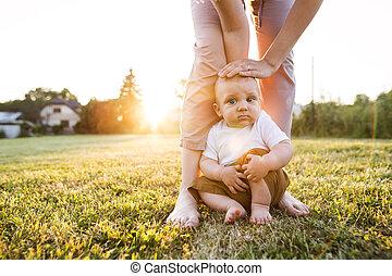 garden., αγόρι , δικός του , έξω , μητέρα , μωρό
