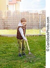 garden., αγόρι , μικρό , μερίδα φαγητού