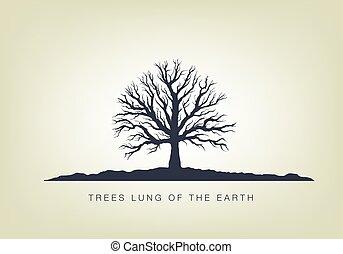 garden., エコロジー, 木, イラスト