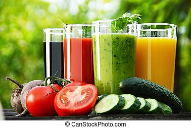 garden., ジュースをしぼる, 食事, 野菜, 新たに, detox, ガラス