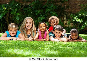 garden., 多様, 子供, 群をなしなさい