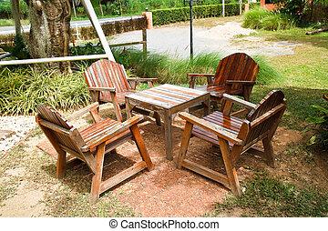 garden., 椅子