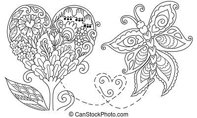 Abstract Hearted shape floral tree and leaf with flying butterfly for cards, web decoration, coloring book, coloring page, colouring picture. Vector illustration