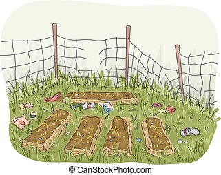 Garden Abandoned - Illustration of an Abandoned Garden with...