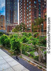 Garden along a path in Battery Park City, Manhattan, New York.