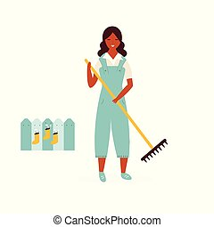 garden., ancinho, limpeza, agricultor, menina, feliz