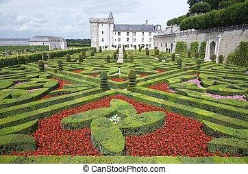 Villandry - Garden and castle of Villandry, Loire Valley,...