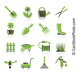 Garden and gardening tools and objects icons - vector icon...